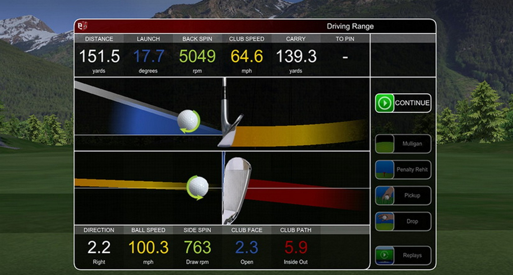 Die Schlaganalyse des Golf Simulators mit Ball Spin, Club Head Speed, Club Face Angle